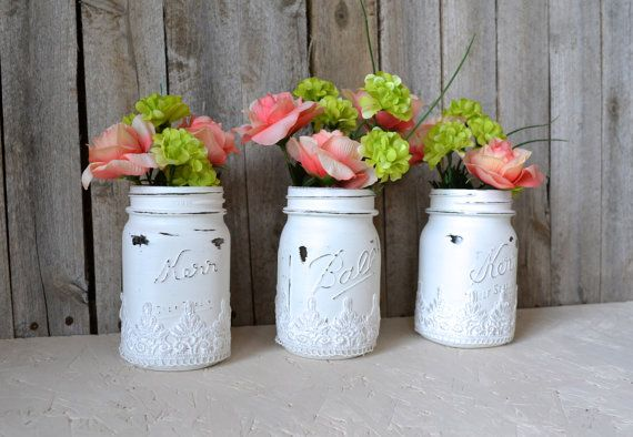 Lace Painted White Mason Jars Spray Adhesive Onto Lace Place Onto Jar Spray Paint Jar W Lace Voila Diy Mason Jars Painted Jars Lace Painting