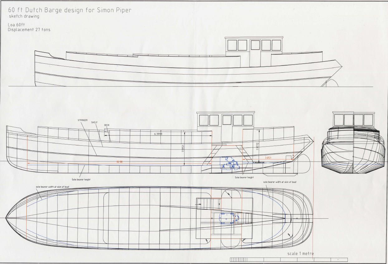 Replica Dutch Barge Autocad Drawing