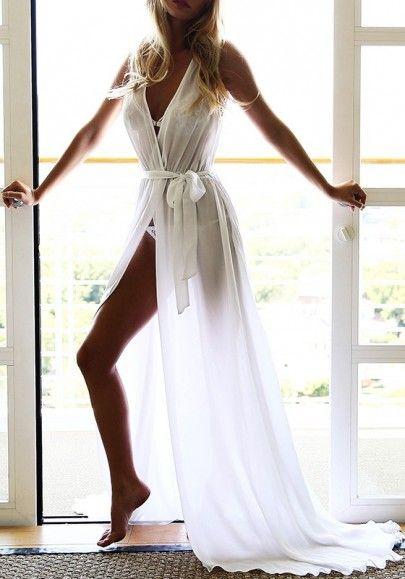 5ce3e79196b4 White Plain Sashes Plunging Neckline Bohemian Chiffon Maxi Dress ...