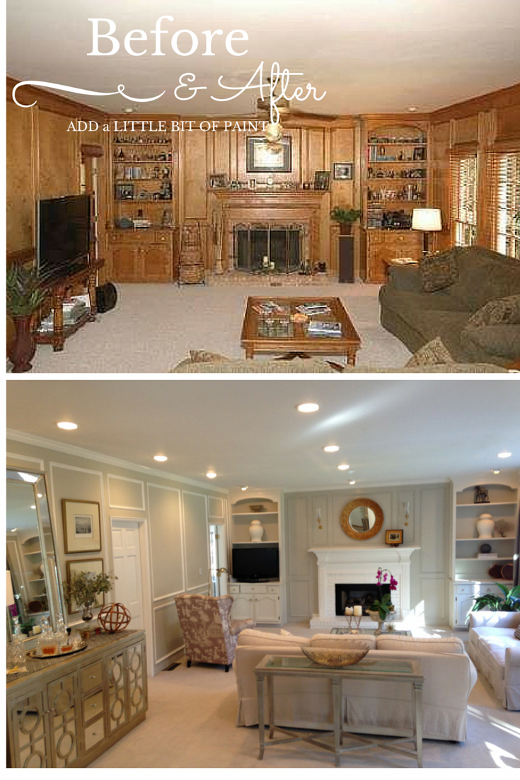 Living Room Wood Paneling Makeover: Living Room Before And After #Before And After #Painted