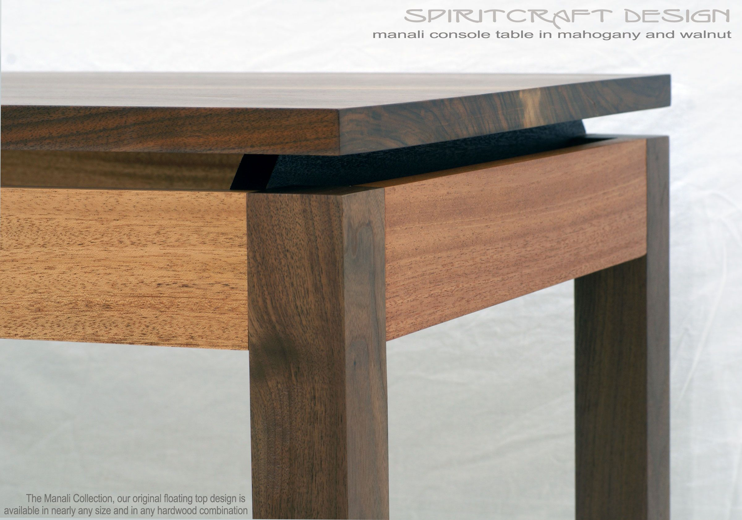 A mid century modern style table desk in walnut and mahogany home