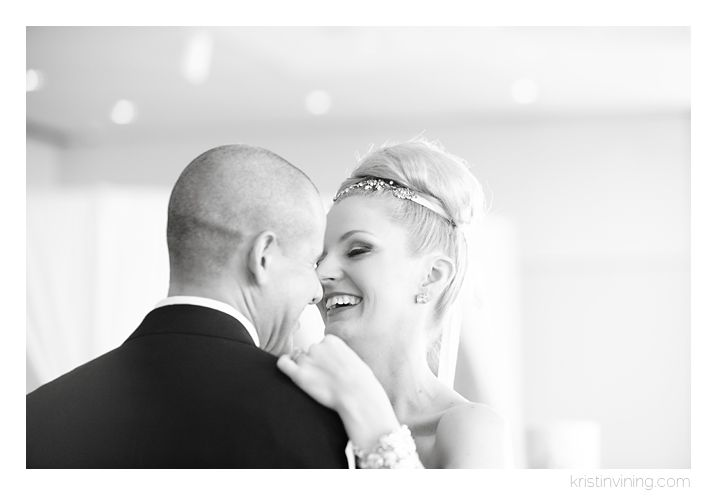 first dance, reception, bride and groom, black and white, laughter, love, top bun, Mint Museum Wedding, Charlotte NC Wedding Photographer, Kristin Vining Photography