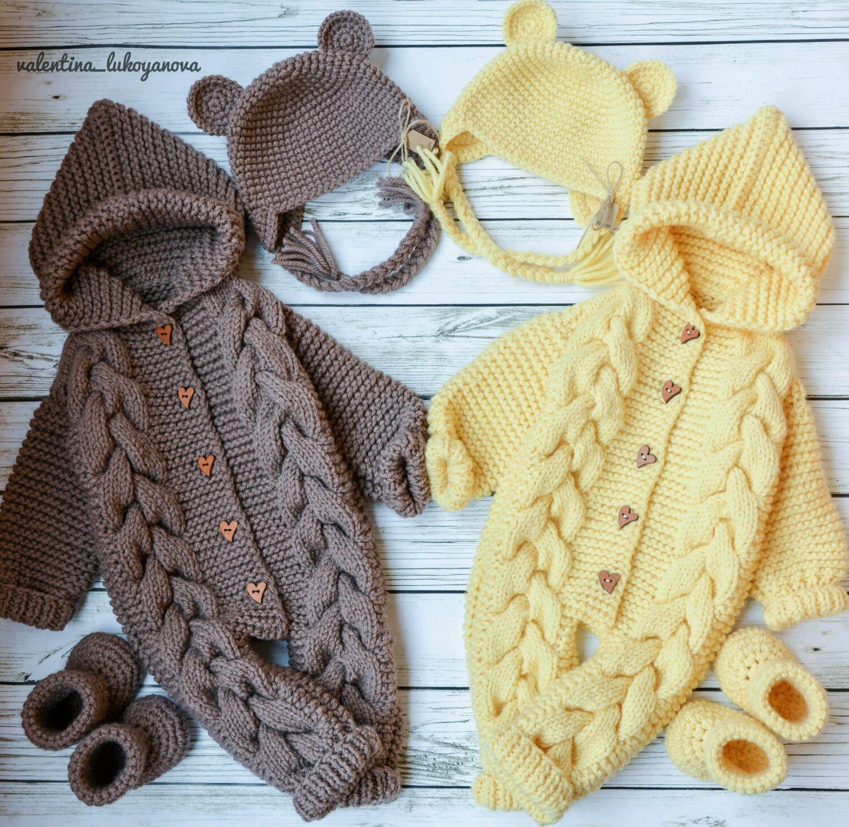 вязание спицами детского комбинезона мишка
