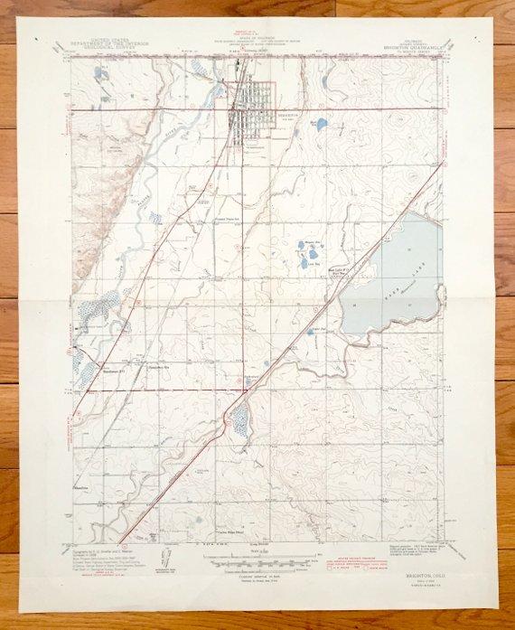 Brighton Colorado Map.Antique Brighton Colorado 1944 Us Geological Survey Topographic Map