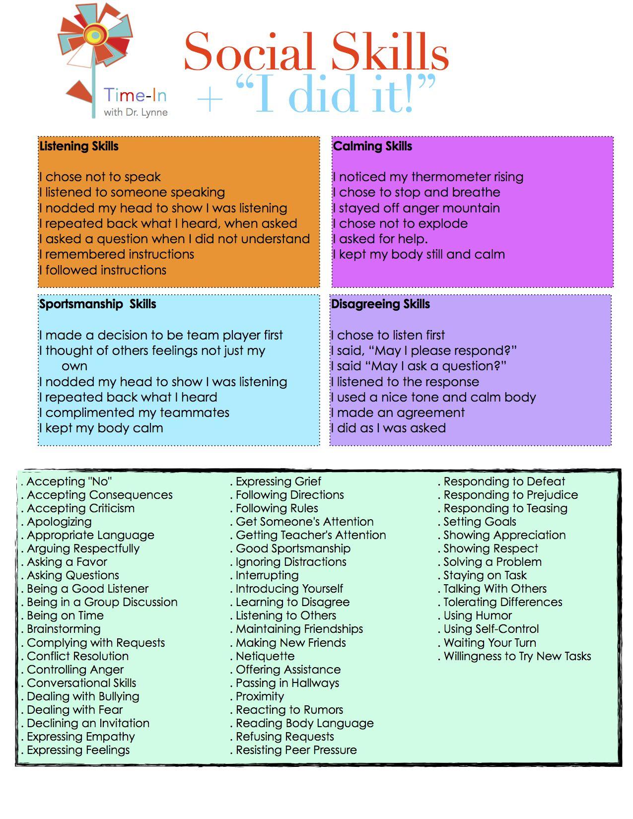 Social Skills I Did it (printable) | Sensory | Pinterest | Parents ...