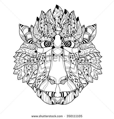 Zentangle Monkey Head Doodle Hand Drawn Vector Illustration