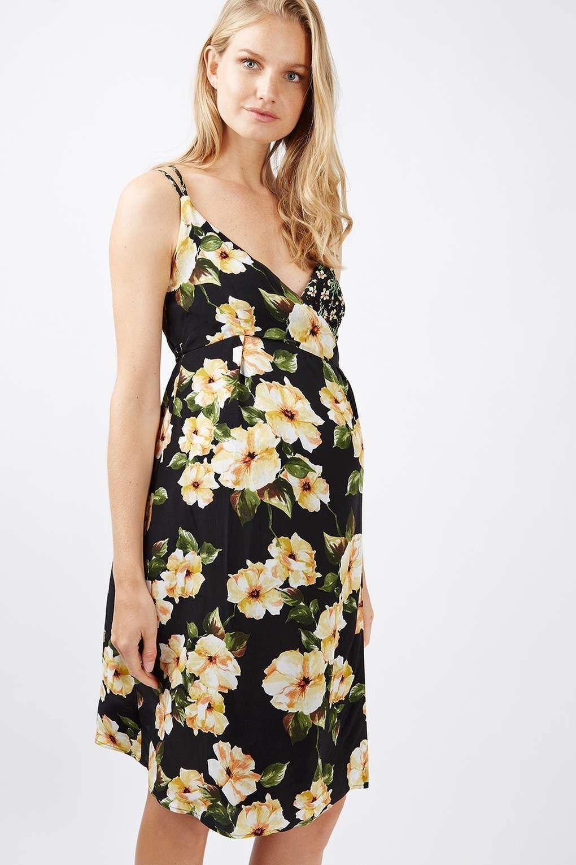 New topshop maternity floral garden slip wrap dress size