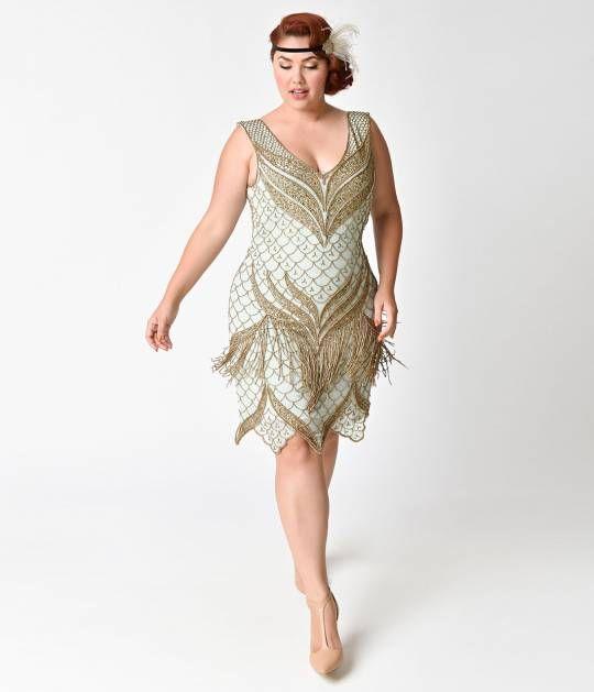d2dfb10f973 Unique Vintage Plus Size 1920s Seafoam   Antique Gold Beaded Bayou Flapper  Dress