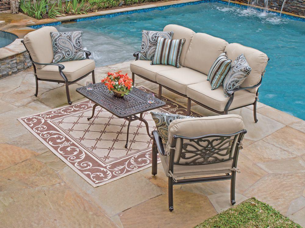 Orleans 4 Pc Cast Aluminum Sofa Group With Spectrum Sand Sunbrella Cushions