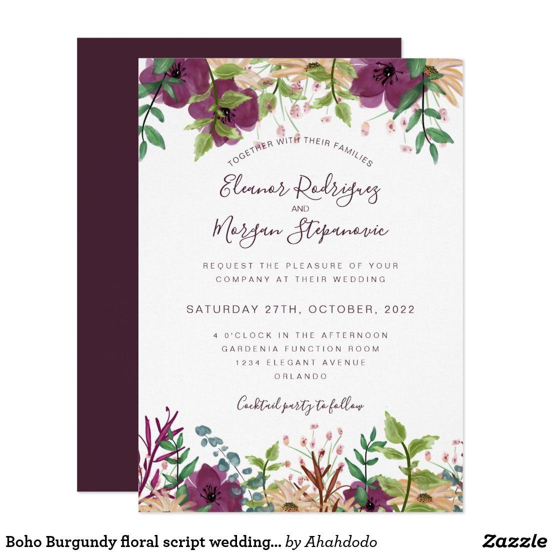 Burgundy purple floral border script wedding invitation