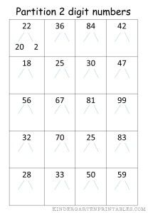 partition 2 digit numbers worksheet | Math | Number worksheets, Free ...