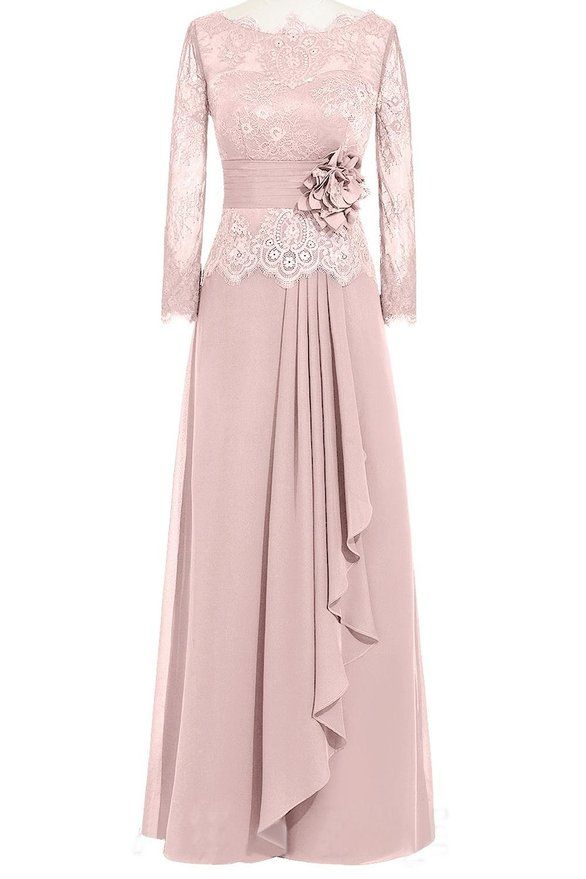 5272cfc836 ORIENT BRIDE Women Lace Chiffon A-Line Formal Evening Dresses with Long  Sleeves at Amazon Women s Clothing store