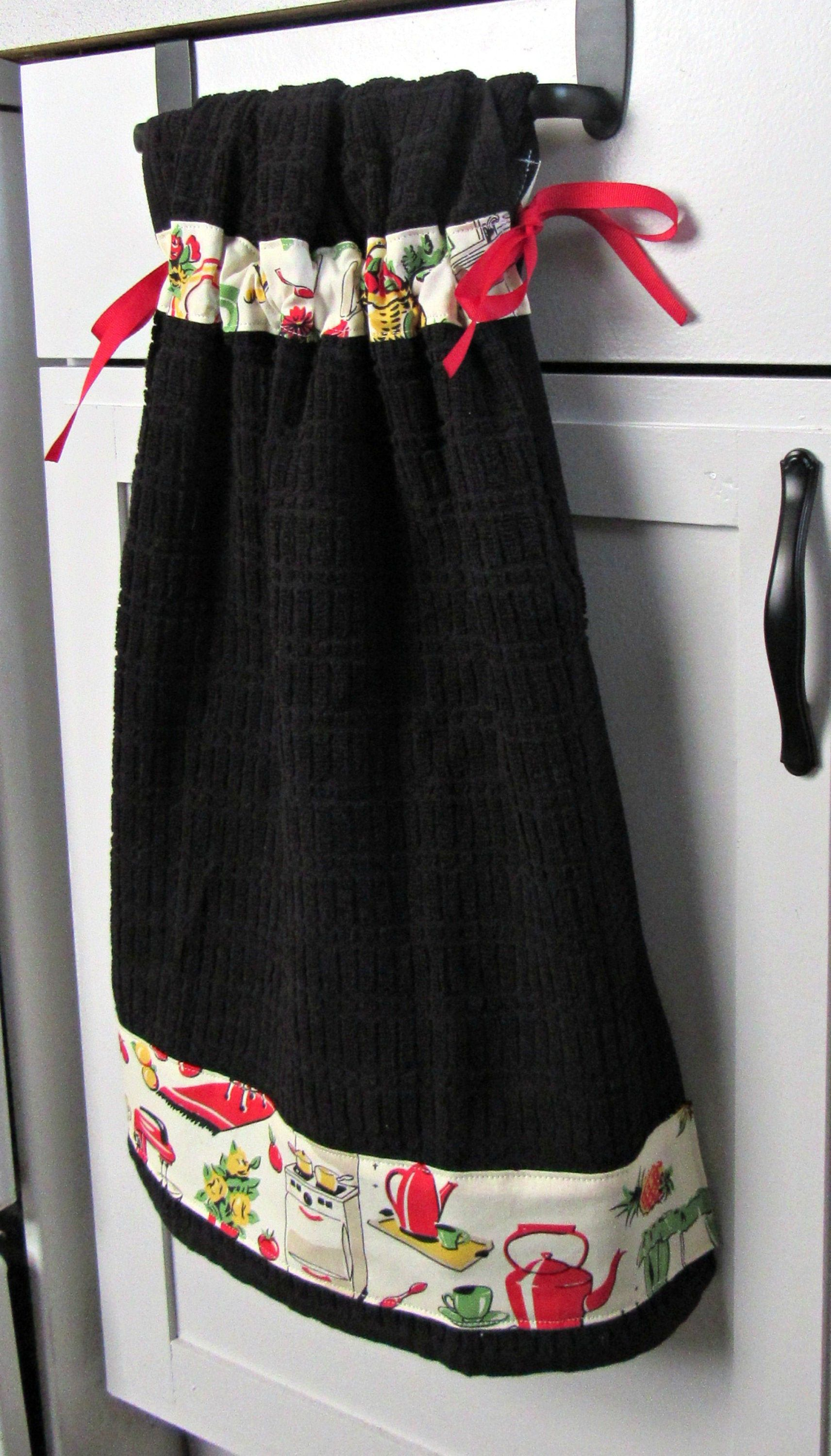 Tie Top Towels Black Cotton Kitchen Towel Accented With Vintage