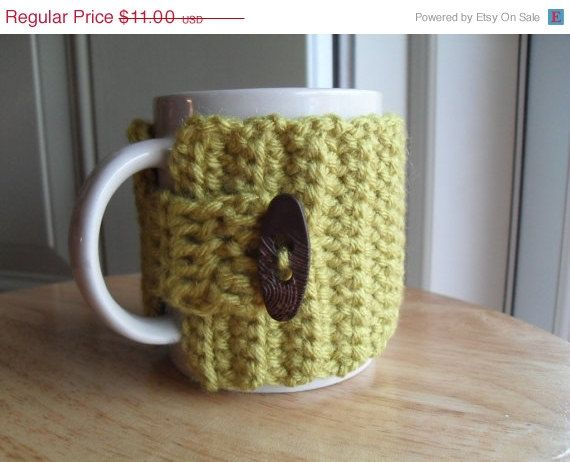Memorial Day Sale crocheted coffee mug cozy by TheLeftHandedHooker, $9.90