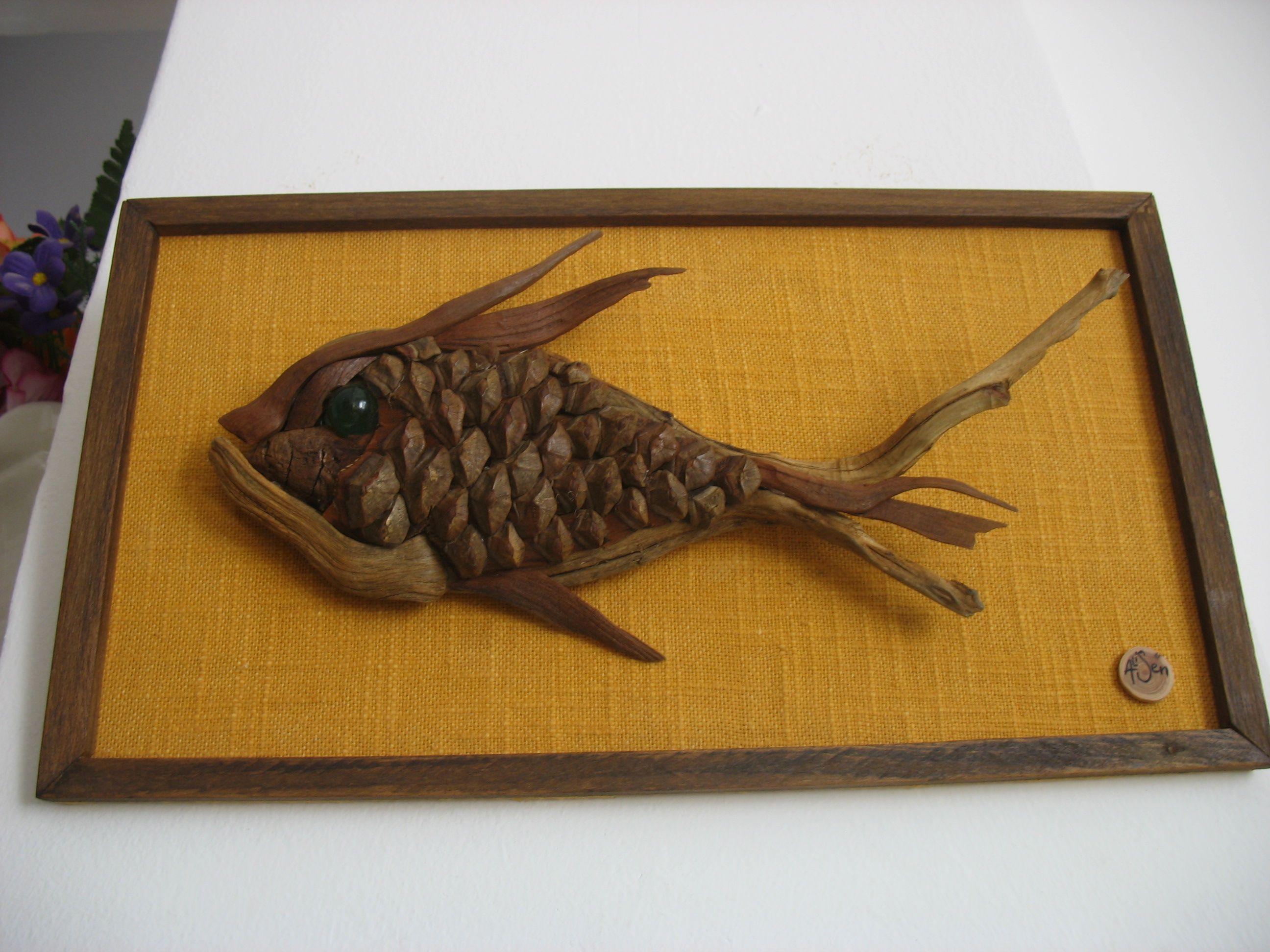poisson bois flotté   tableaux bois flotté   Pinterest