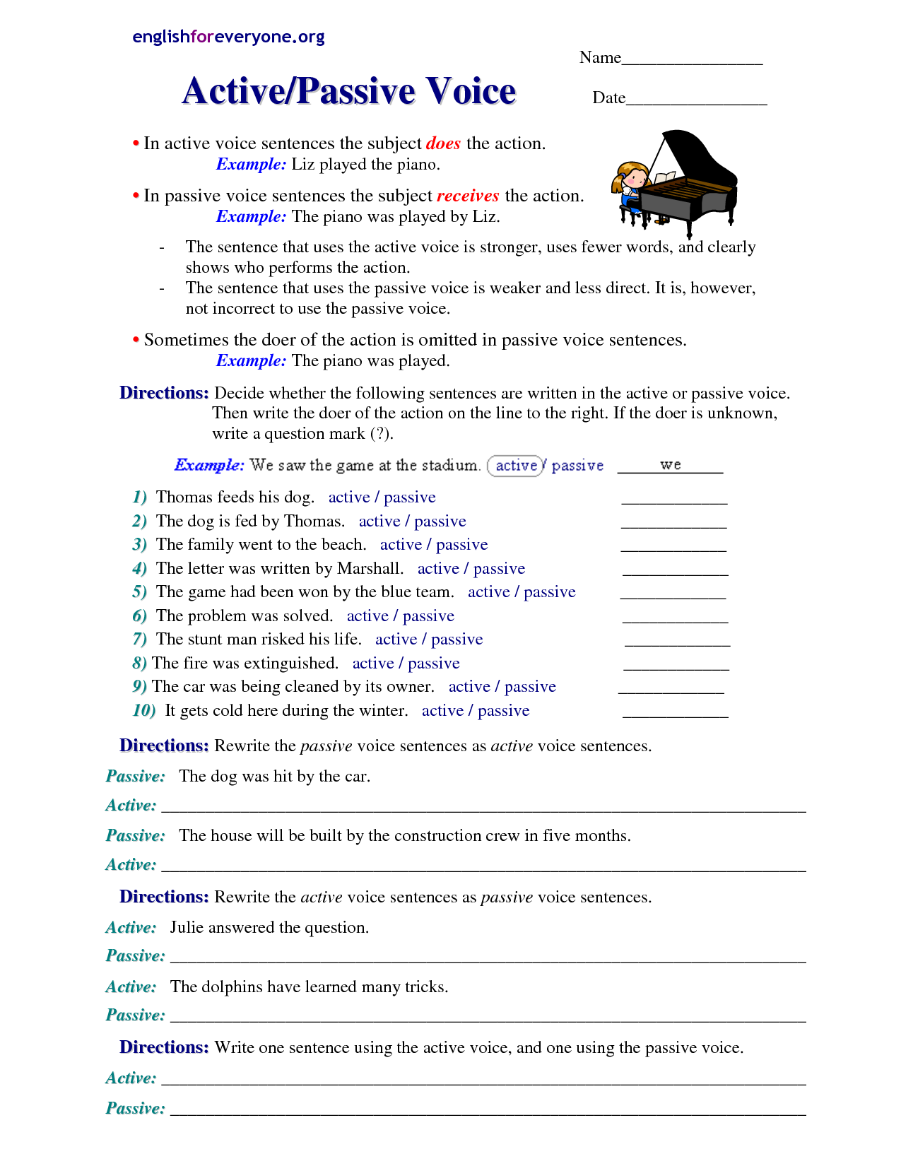 Worksheets Active And Passive Voice Worksheets With Answers active and passive voice worksheet with answers grammar videos exercises voice