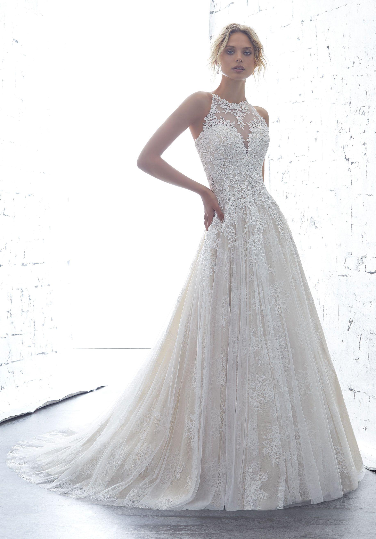Mori Lee Angelina Faccenda 1708 Kailani High Neck Bridal Dress Sheer Wedding Dress Bridal Dresses Wedding Dresses Lace