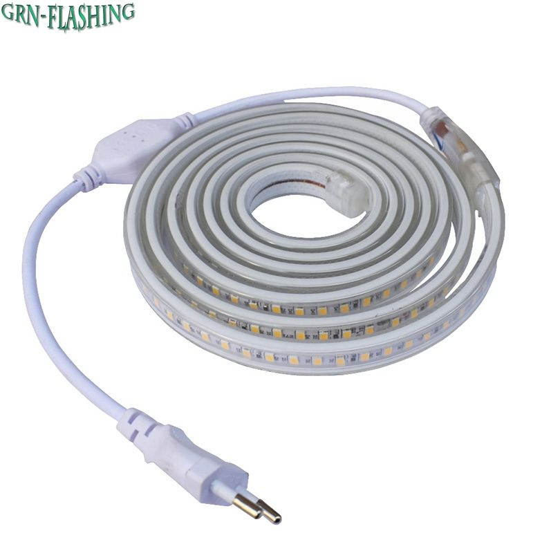 Smd 5630 Ac 220v Led Strip Flexible Light 120leds M Ip67 Waterproof Led Tape Light With Power Plug 1m 2m 3m 5m 6m Waterproof Led Tape Lights