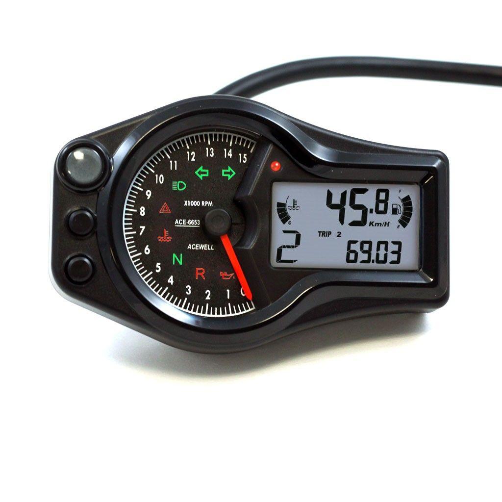 Black Acewell 6653 W Digital Led Speedometer Tachometer Motorcycle Universal Led Speedo Tach Tachometer Cafe Racer Parts Digital