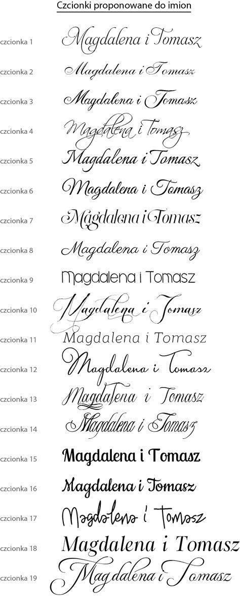 Czcionki proponowane do imion #mamatattooideen