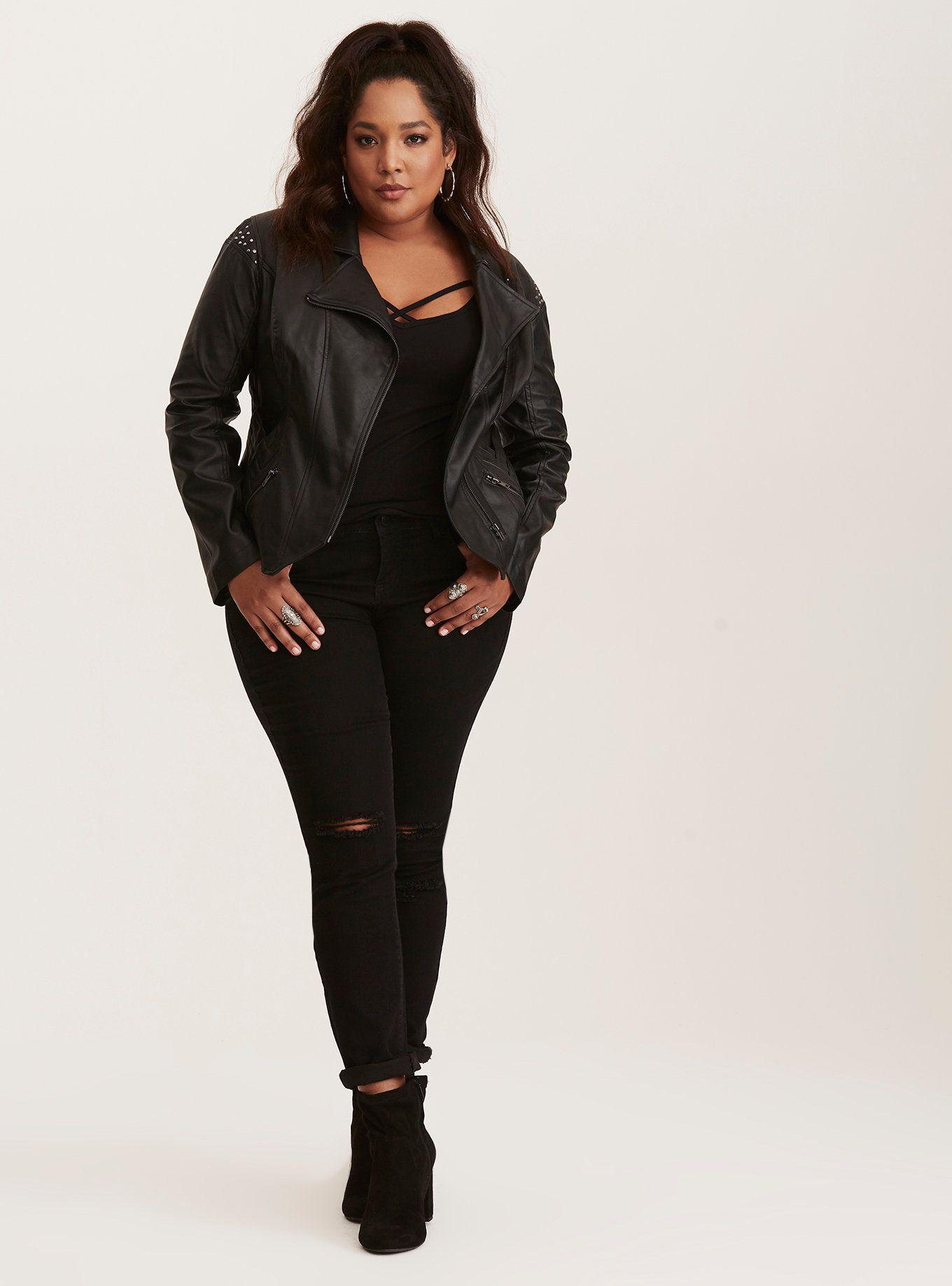 Her Universe Marvel Loki Studded Faux Leather Moto Jacket In 2021 Plus Size Leather Jacket Black Leather Jacket Outfit Plus Size Fall Outfit [ 1836 x 1360 Pixel ]