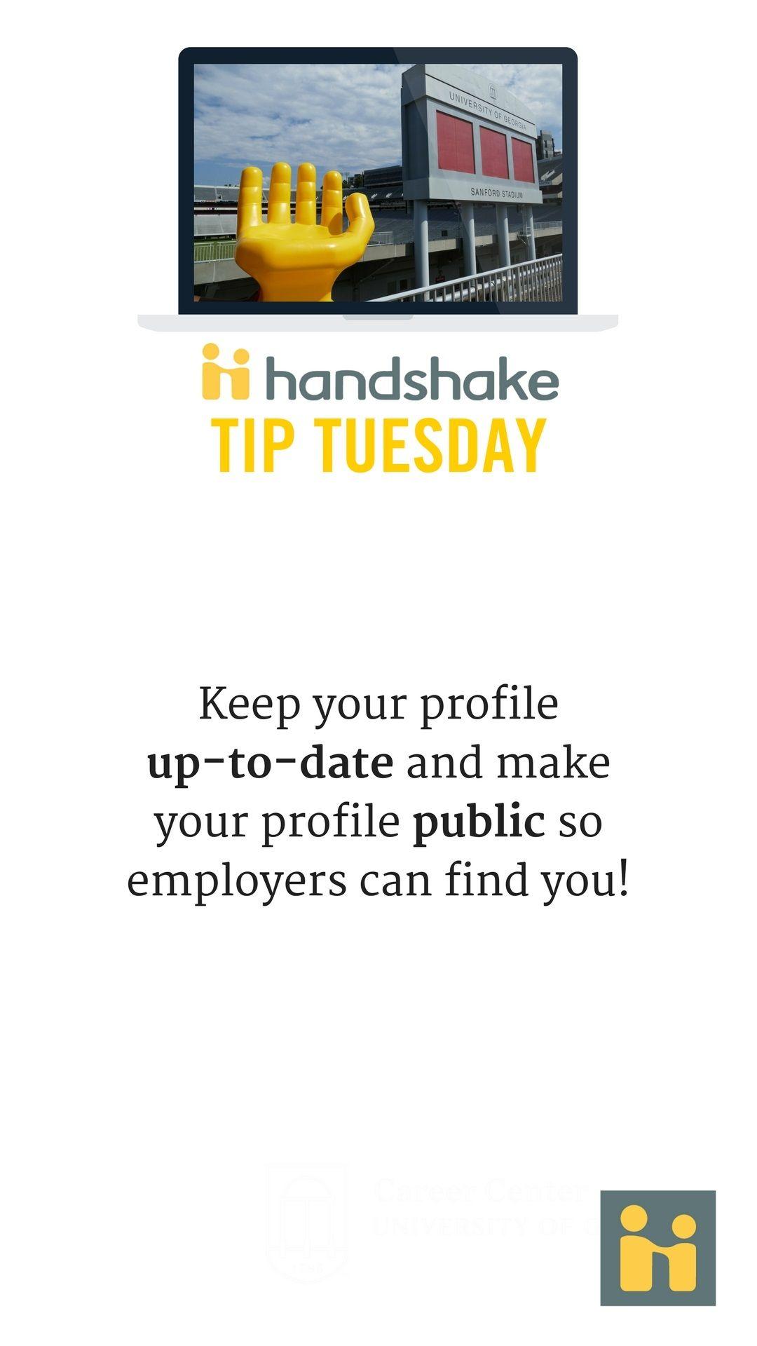 Pin by UGA Career Center on Handshake Tips | Career, Tips