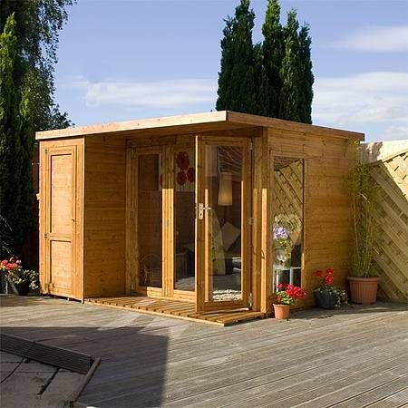 Waltons 10 X 8 Contemporary Summerhouse With Side Shed Garden