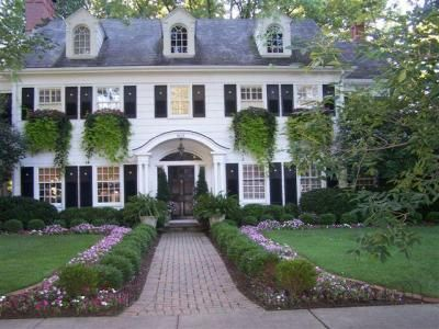 white house • shutters • Gambrel roof • overgrown window boxes...Father of the Bride look aka my dream house!!!