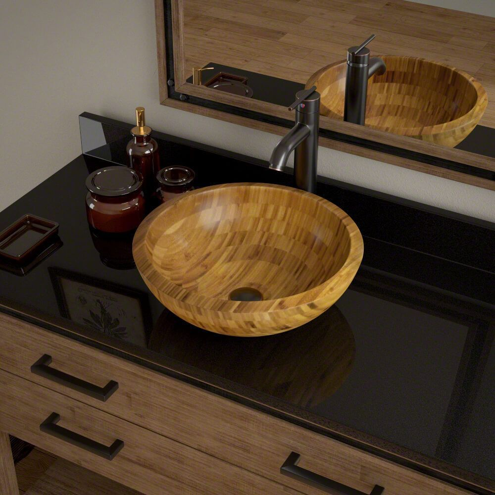 MR Direct 890 Bamboo Vessel Bathroom Sink with Faucet, Sink Ring ...