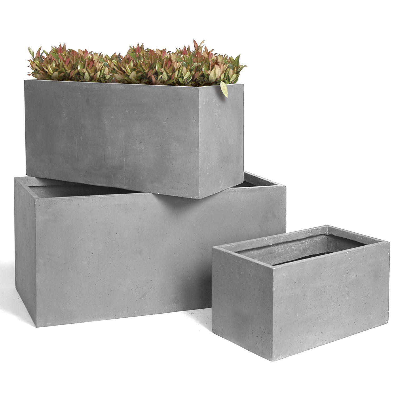 Jardiniere Fibre L 100 Cm X L 45 Cm X H 45 Cm Gris Fibre Gris
