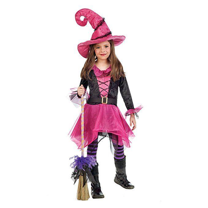 Kleine Hexe Märchen Kostüm Kinder pink Kleid mit Hexenhut - 3/5 ...