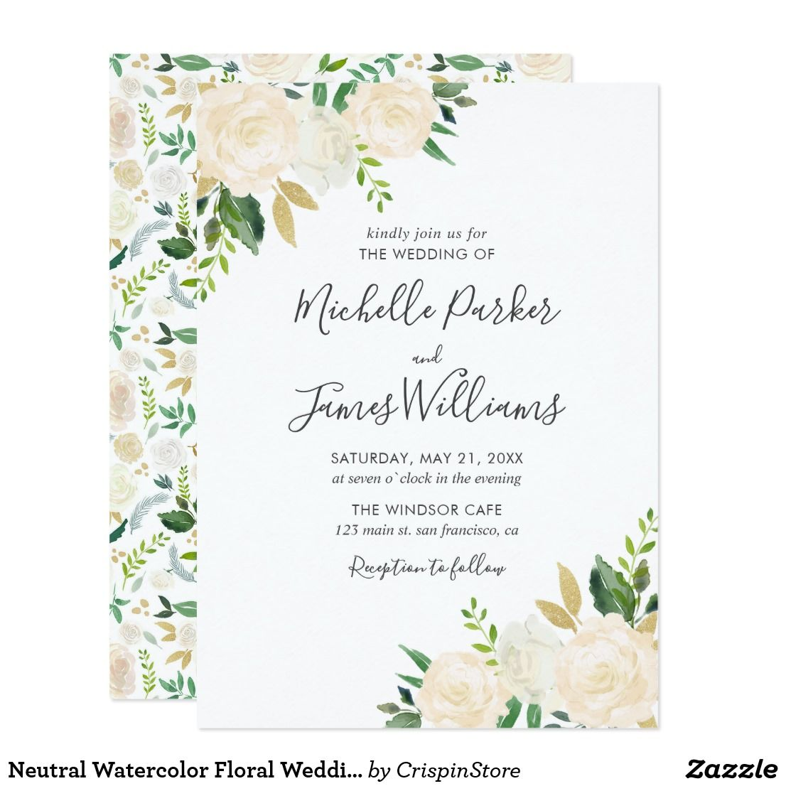 White Neutral Watercolor Floral Wedding Invitation | weddings ...