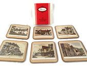 "Vintage Pimpernel ""Old English Inns"" Acrylic Coaster Set of 6"