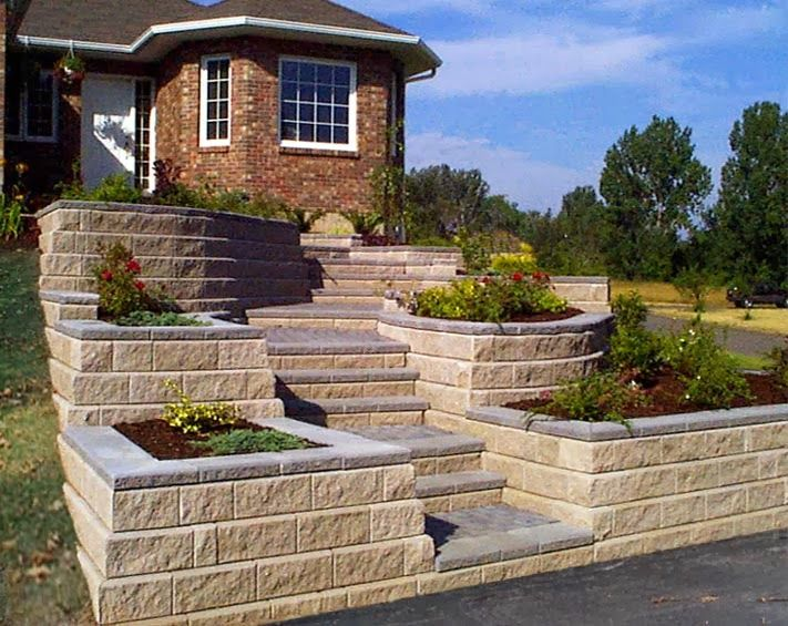 Raised Front Yard Landscaping Ideas Part - 18: Contemporary Landscape Ideas For Sloped Front Yard With Big Stone Stairs