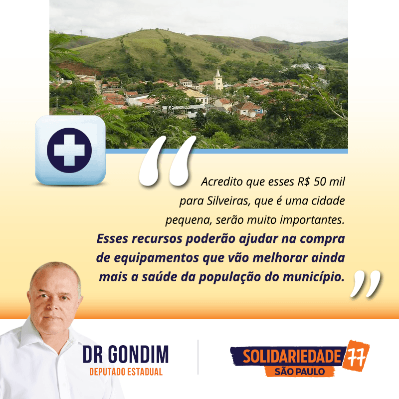 Nos próximos dias a prefeitura de Silveiras receberá R$ 50 mil, através de uma emenda minha. #FichaLimpa #77000 #DrGondim #votedrgondim77000