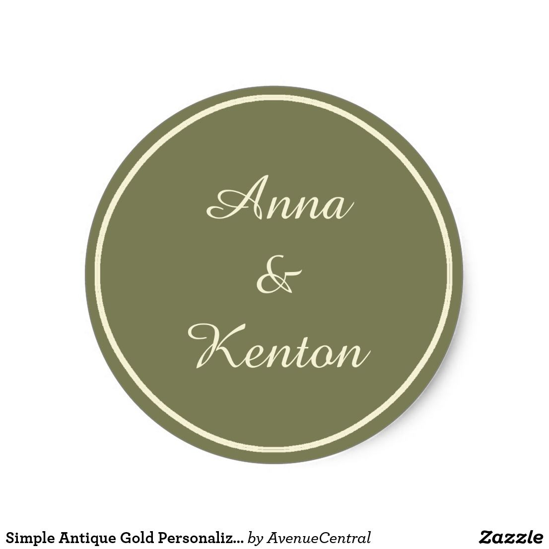 Simple Antique Gold Personalized Wedding Classic Round