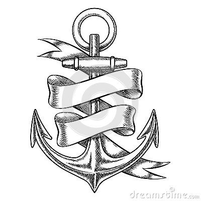 Vector Hand Drawn Anchor Sketch With Blank Ribbon Stock Vector