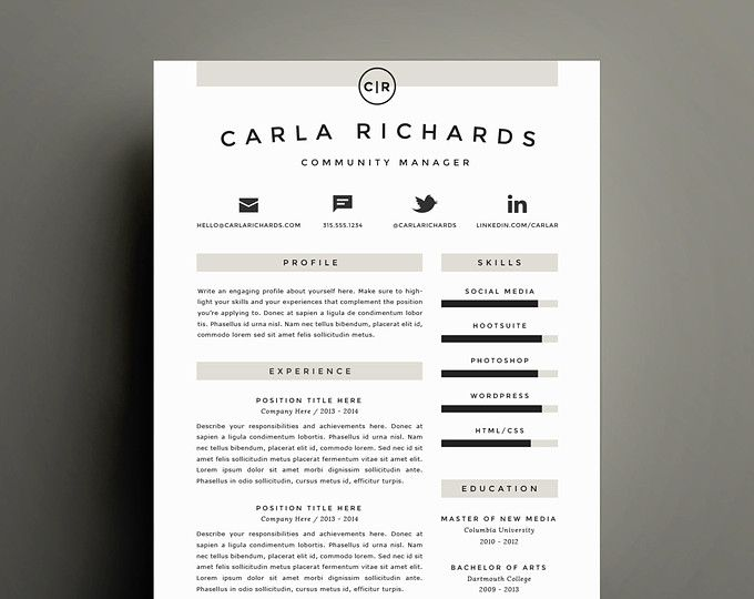 Professional Resume Template And Cover Letter Template For Word