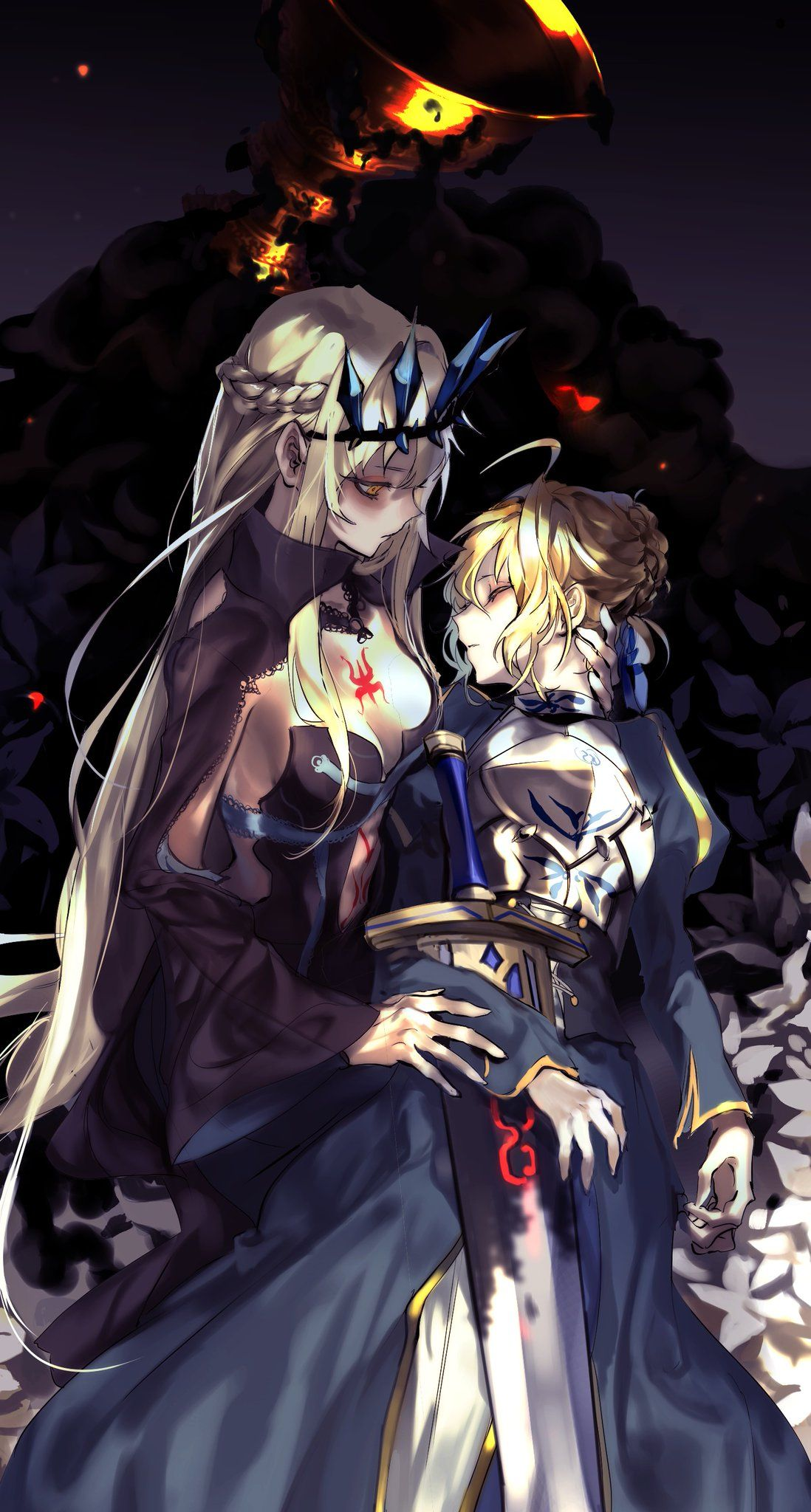Illustration Wallpaper Art Of Morgan Le Fay Wanted To Save Her Lanccelot Watch Aegis Attilia Sister Artoria Pendragon From