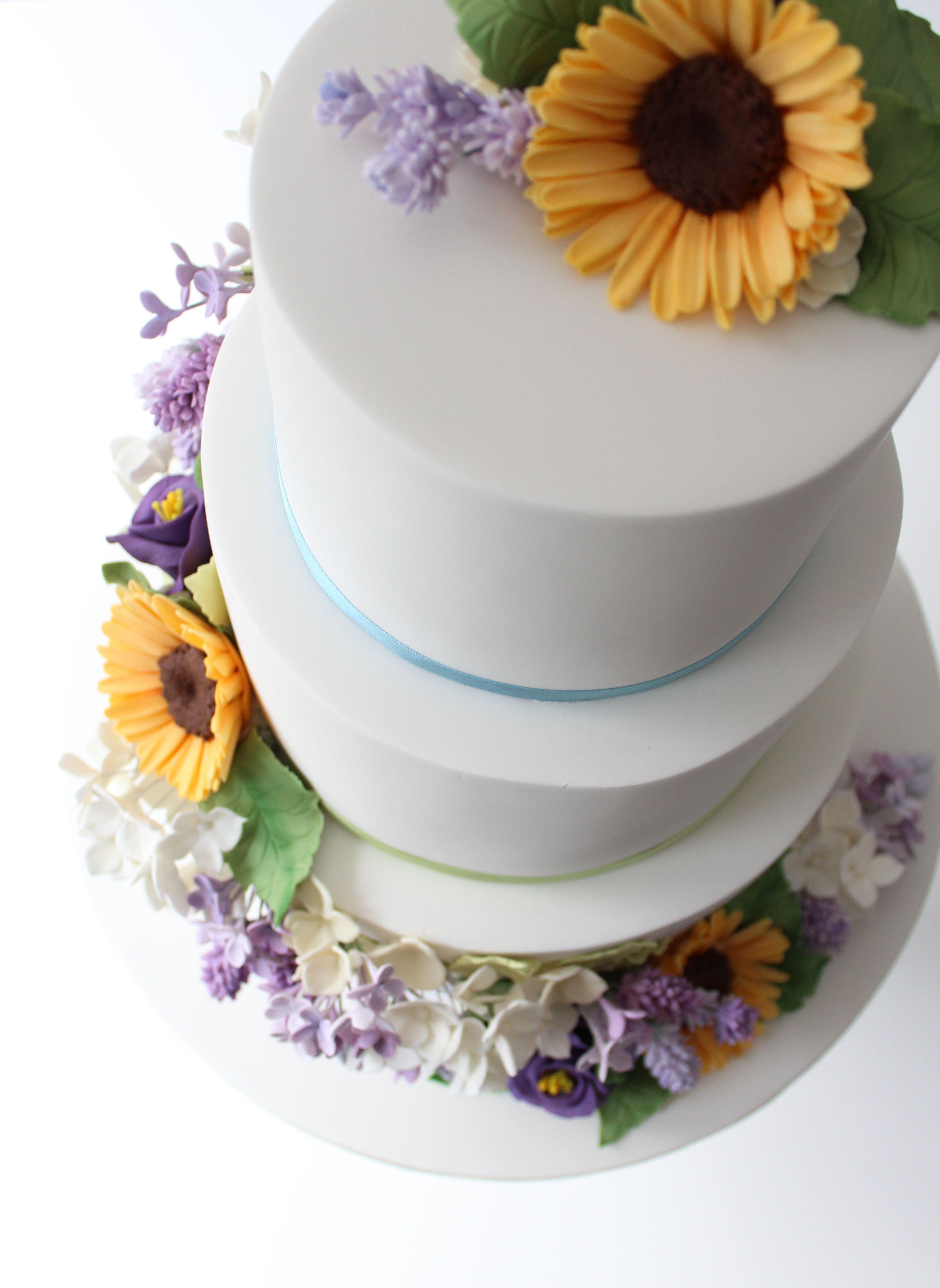 Sunflower Lavender Lilac Wedding Cake Wedding Cakes Essex Www