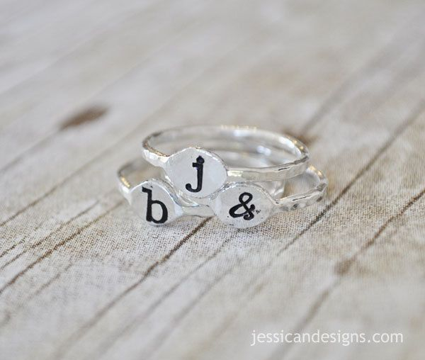 Fine Silver Stacking Initial Ring  Hand Stamped by jessicaNdesigns, $29.00