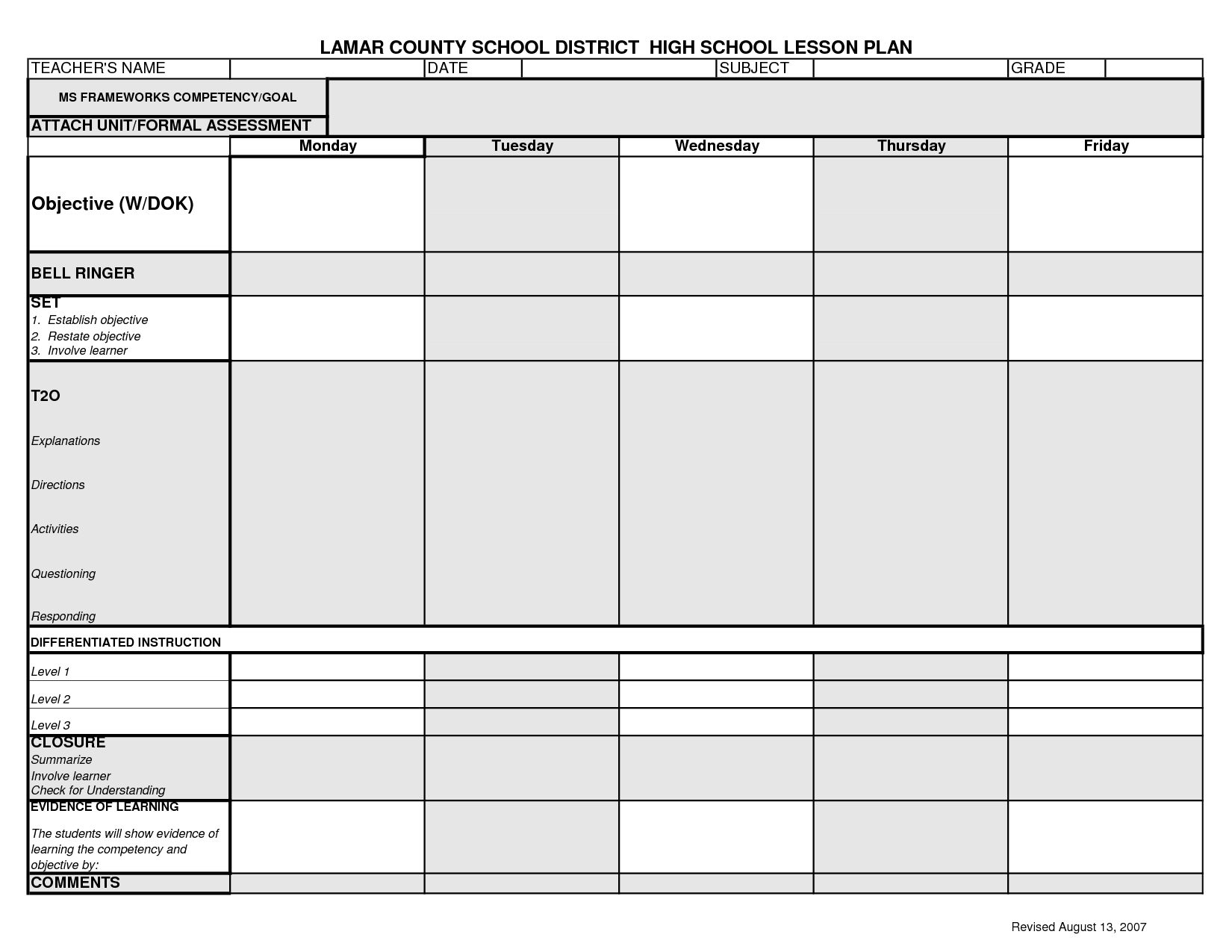 Lcsd High School Lesson Plan Template