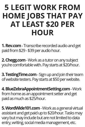 5 Legit Work From Home Jobs That Pay At Least 20 Per Hour
