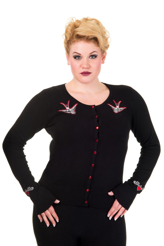 Banned Rockabilly Vintage Tricot Veste Cardigan-Flamingo noir