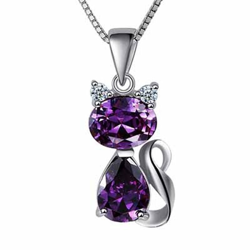 Sterling silver necklace with Amethyst crystal heart pendant and sterling silver rose pin length 20 ins
