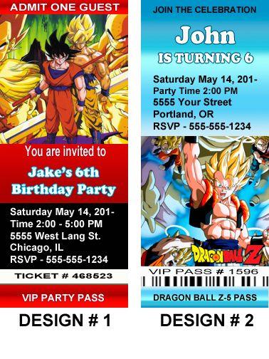 Dragon Ball Z 5 Cartoon Birthday Party Invitations 25X6