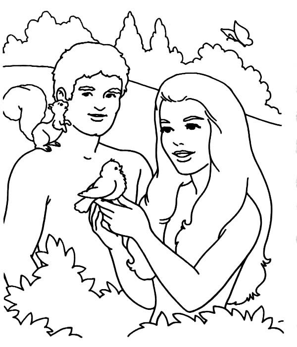 Adam and eve adam and eve playing with bird in the garden for Garden of eden coloring page