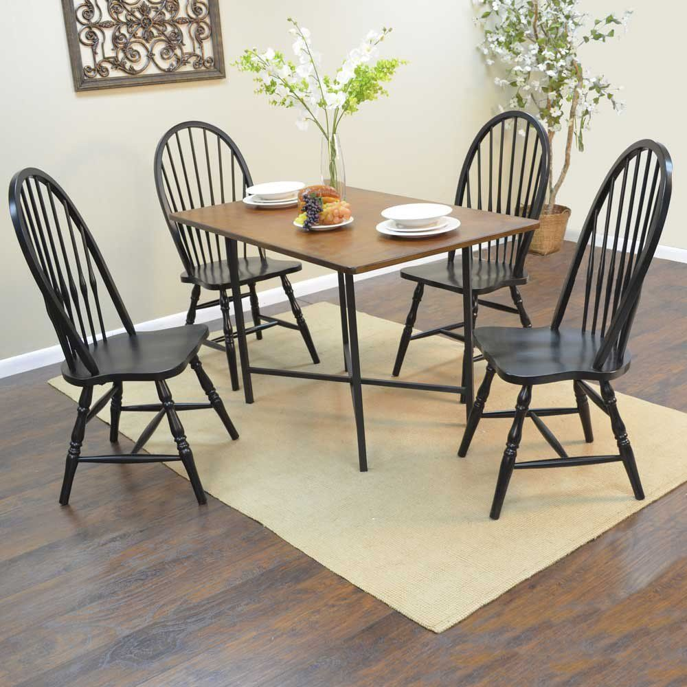 Carolina Forge Elmsley Rectangle Dining Table And Winslow Windsor Chairs 5 Piece Set Available For Sale At CarolinaRustica