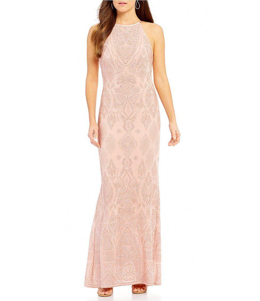 414a8b26c8e Jump High Neck Glitter Pattern Slinky Long Dress