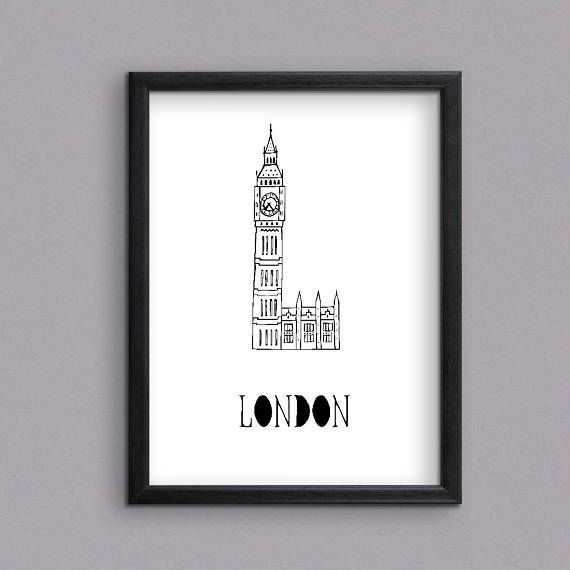 Famous Londons Landmark Big Ben Digital Art Print for instant download ---------------------------------------- ✦ PRODUCT DESCRIPTION ✦ ---------------------------------------- This is a high-resolution PRINTABLE art poster of Londons Landmark Big Ben. It is a sketch of Big Ben, Londons Landmark, hand sketched and hand lettered by me. It is a unique piece of art for you to put on the walls of your house or your office. And it also makes a special gift.  It is available to download…
